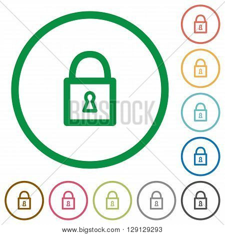 Set of Locked padlock color round outlined flat icons on white background