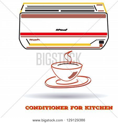 air conditioner icon forkitchen in flat line style, vector