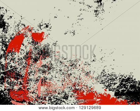 Grunge background, ink splashes in red and black