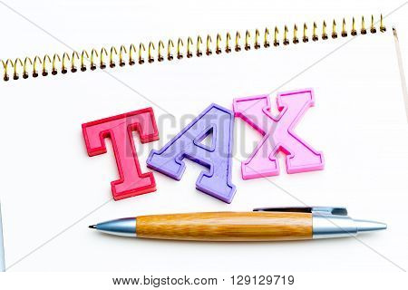 Blank note paper with tax. top view.