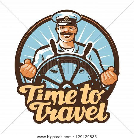 travel vector logo. journey or sailor, ship captain icon