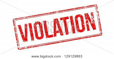 Violation Red Rubber Stamp On White