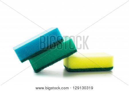 household cleaning sponge for cleaning isolated on white