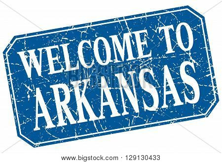 welcome to Arkansas blue square grunge stamp