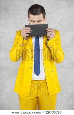 Businessman Hiding Behind The Envelope