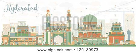 Abstract Hyderabad Skyline with Color Landmarks. Vector Illustration. Business Travel and Tourism Concept with Historic Buildings. Image for Presentation Banner Placard and Web Site.