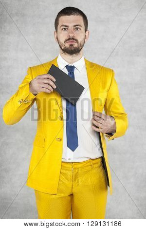 Portrait Of A Politician With An Envelope In His Hand