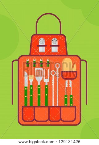 Apron with a set of tools for barbecue grill menu.Cartoon flat vector illustration. Objects isolated on a background.