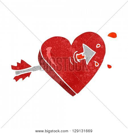 freehand retro cartoon arrow through heart freehand retro cartoon