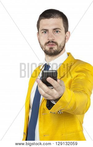 Young Businessman Gives The Phone