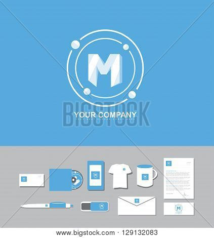 Corporate identity vector company logo icon element template alphabet letter M blue white pastel