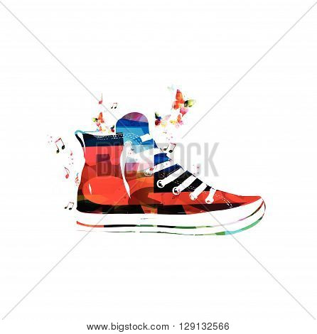 Vector illustration of colorful sneaker with butterflies
