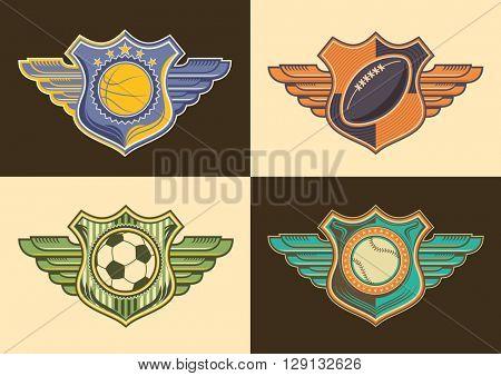 Set of retro sport emblems. Vector illustration.
