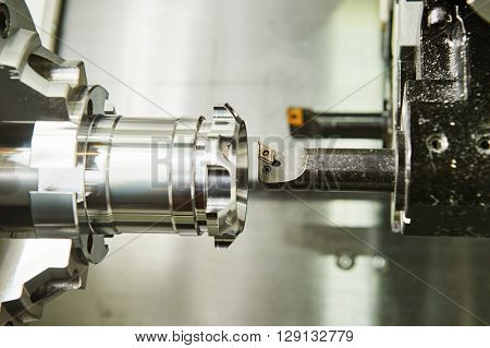 cutting tool counterboring a hole at metal working