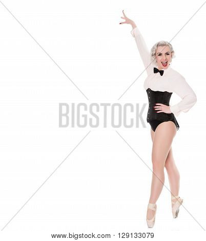 Cute Happy Young Dancer In Corset And Bow Tie, Isolated On White With Space For Text