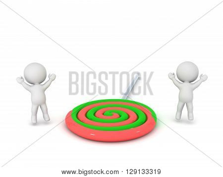 Two 3D characters are jumping up next to a large colorful lolipop. Isolated on white background.