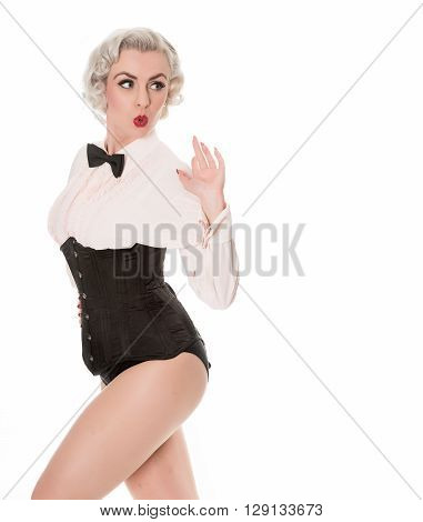 Shocked Retro Burlesque Dancer In Bow Tie, Frilled Shirt & Corset, Isolated On White With Space For