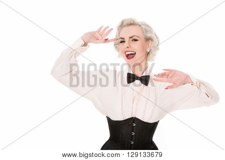 Laughing Retro Burlesque Dancer In Bow Tie, Frilled Shirt & Corset, Isolated On White With Space For