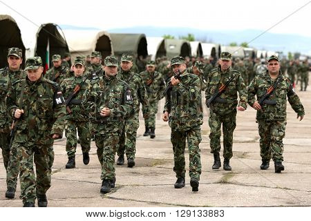 Bulgarian Soldiers In Uniforms With Kalashnikov Ak 47 Rifles