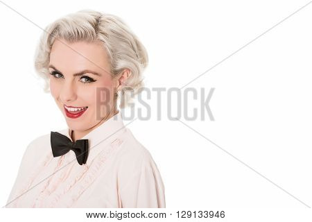 Portrait Of Cute Young Blond Waitress, With Space For Text, Isolated On White In Horizontal Format