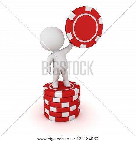 A 3D character standing on a small stack of poker chips and holding one red poker chip. Isolated on white background.