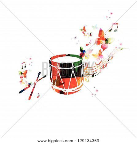 Colorful music background. Traditional Turkish drum design vector