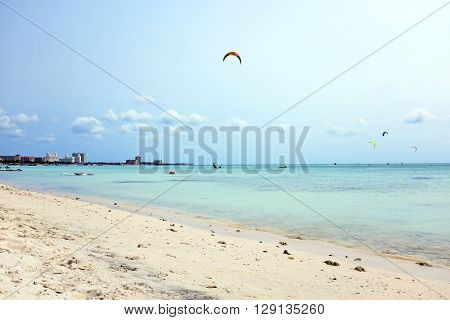 Kite surfing at Fisherman's Huts on Aruba in the Caribbean
