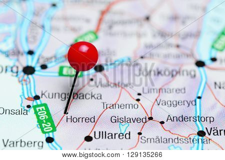 Horred pinned on a map of Sweden