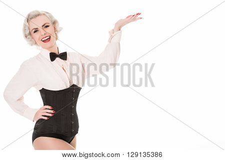 Happy Retro Burlesque Dancer Indicating Space For Text, Isolated On White