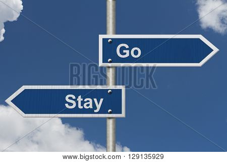 To Stay or to Go Two Blue Road Sign with text Stay and Go with sky background, 3D Illustration
