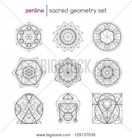 Abstract vector sacred geometrical figures, spiritual geometry symbols