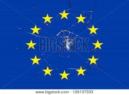 Brexit, Broken Glass Effect On European Flag, Schengen Eurozone Crisis
