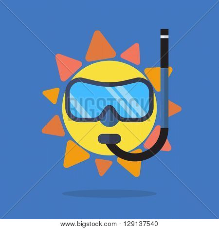Summer sun wearing diving mask and snorkel