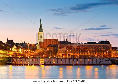 BRATISLAVA, SLOVAKIA - MAY 06, 2016: View of st. Martin's cathedral over river Danube, Slovakia on May 06, 2016.