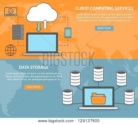 Cloud computing services and technology, data storage banners set