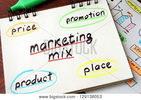 Notepad with marketing mix on a wooden background.