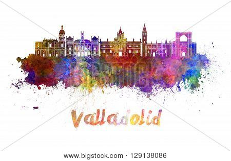 Valladolid skyline in watercolor splatters with clipping path