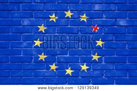 Brexit Blue European Union Eu Flag On Brick Wall And One Star With Great Britain Flag