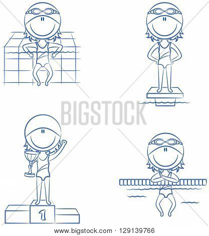 Cute vector swimmer boys in different situations: relax in the pool on the starting platform on the winner's podium with the cup resting on the lane dividing rope