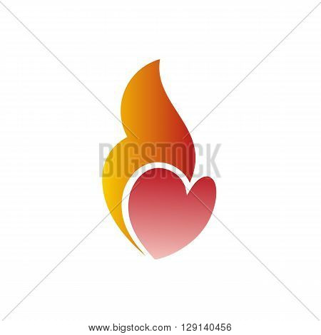 Burning heart vector illustration symbol of love for Valentine Day isolated on the white background.
