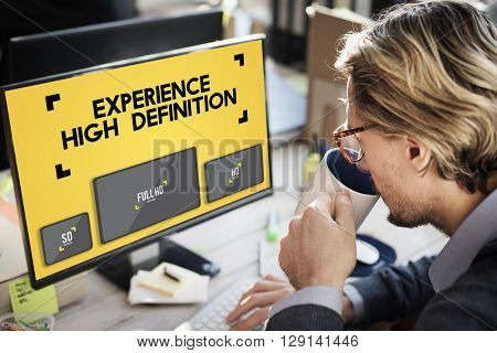 Experience High Definition Broadcasting Media Concept
