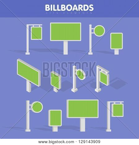 Billboards advertise billboards city light billboard. Flat 3d isometric vector illustration for infographic.