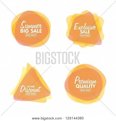 Vector set of vintage glossy transparent colorful plastic labels for greetings and promotion. Premium Quality Guarantee, Bestseller, Best Choice, Sale, Special Offer