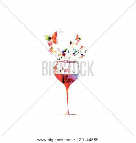 Colorful wine glass design with butterflies background Vector