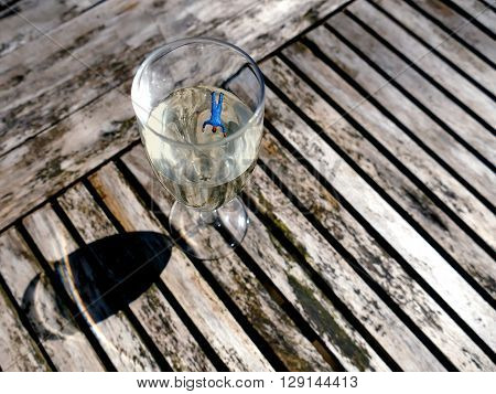 Miniature Workmen Floating Head Down In Champagne Glass