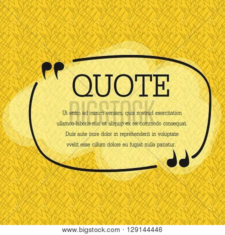 Quote blank template. Quote bubble. Empty template. Circle business card template, paper sheet, information, text. Print design. Quote form. Template vector set. Yellow poster, yellow quote box blank