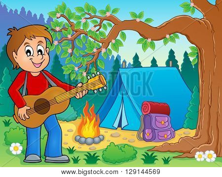 Boy guitar player in campsite theme 2 - eps10 vector illustration.