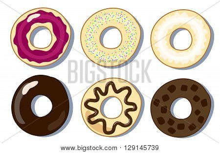 Set of donuts flat vector illustration, donuts collection picture, six donuts in flat style, sweet pastry vector clipart, dessert donuts vector illustration, set of pastries, morning breakfast bakery