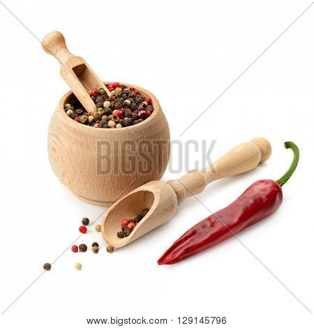mixture dry pepper and chili isolated on white background