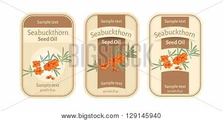 Set of labels for seabuckthorn seed oil
